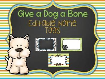 Give a Dog a Bone Editable Name Tags