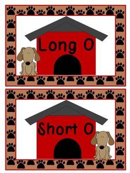 Long O and Short O Give a Dog a Bone Literacy Station