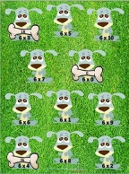 """Give a Dog a Bone"" Multiplication x6 File Folder Game"