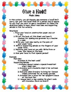 Give a Hand Main Idea Activity
