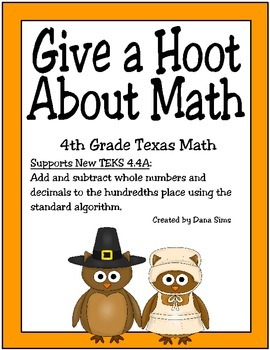 Give a Hoot About Math (TEKS 4.4A)