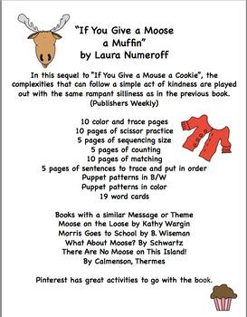 "Give a Moose a Muffin  Book Unit ""No Prep"""