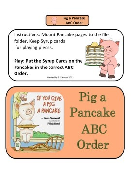 Give a Pig a Pancake ABC Order: File Folder Activity