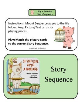 Give a Pig a Pancake Story Sequence: File Folder Activity