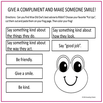 Give a Put-Up- Learning to Give Compliments Activity