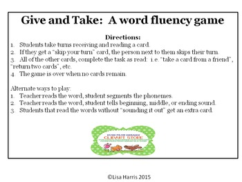 Give and Take:  A word reading game with 3 different levels