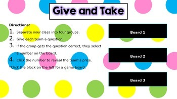 Give and Take Review Game Powerpoint
