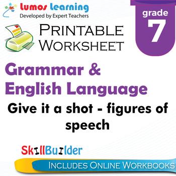 Give it a Shot – Figures of Speech Printable Worksheet, Grade 7