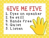Give me 5 Attention grabber Classroom Sign
