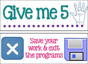Give me 5 computer lab half sheet