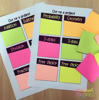 Give me a problem! Math Sticky Notes Template