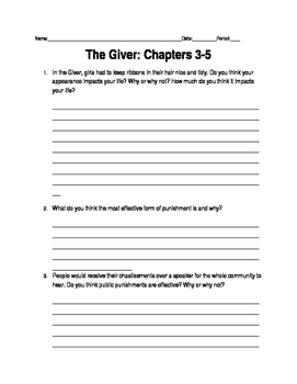 Giver Ch. 3-5
