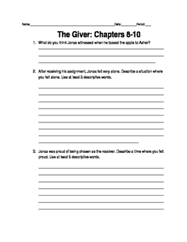 Giver Ch. 8-10