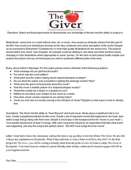 The Giver Final Project (Choice based on learning style)