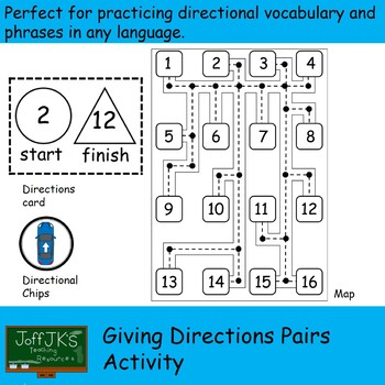 Giving Directions Pairs Activity - practices left right go straight turn around