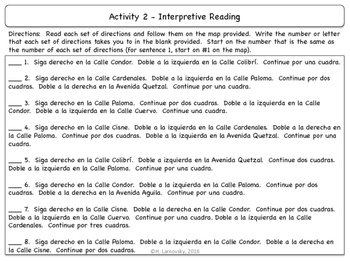Giving Directions in Spanish Unit