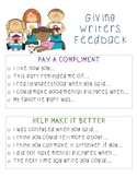 Giving Feedback: Writers Workshop Anchor Chart