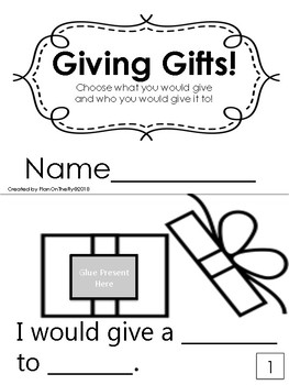 Giving Gifts-- Printable Mini Book--Pick a gift and who you'd give it to!
