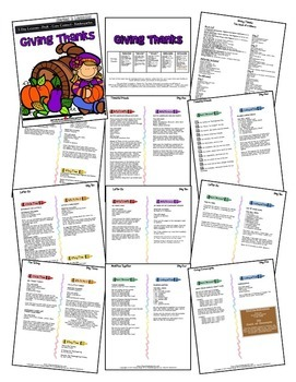 Giving Thanks (5-day Thematic Unit) Includes Patterns and Printables
