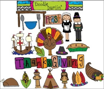 Giving Thanks COLOR Clipart Set