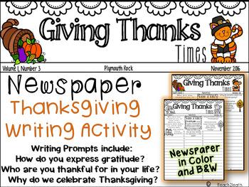 Thanksgiving Writing - W.3.2, W.4.2 - Creative Writing Newspaper