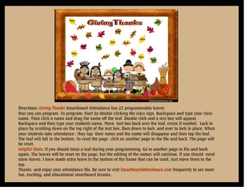 Giving Thanks Smartboard Attendance