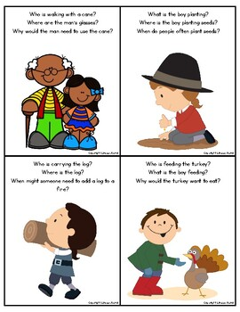 Giving Thanks: WH-Question Cards with Pictures