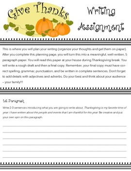 Giving Thanks Writing Activity