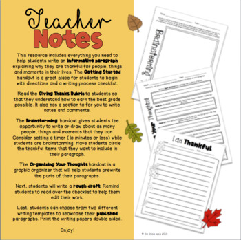 Giving Thanks: Writing a Descriptive Paragraph using the Writing Process