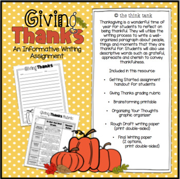 Giving Thanks: An Informative Paragraph using the Writing Process