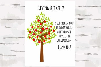 Giving Tree Apples with poster, Perfect for Open House and Conferences