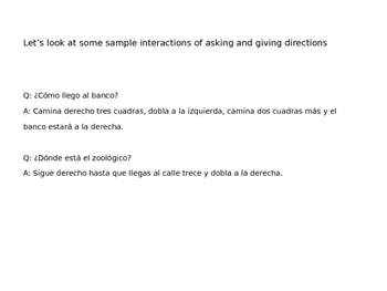 Giving and Asking for Directions Spanish PpT