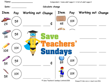 Giving change worksheets (4 levels of difficulty)