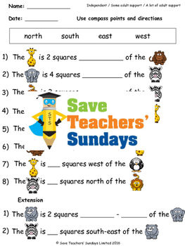 Giving Directions Worksheets (2 levels of difficulty)