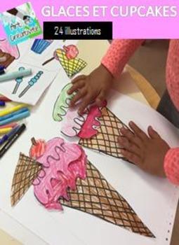 Glaces et cupcakes-Clip Art