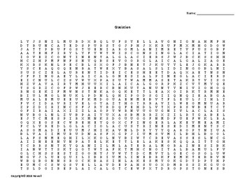 Glaciation Vocabulary Word Search for Geology Students