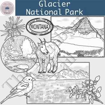 Glacier National Park Clip Art Set