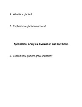 Glaciers Common Core Reading and Writing Activities