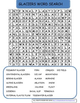 Glaciers Word Search