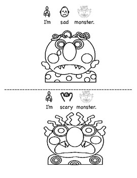 Glad Sad Monster: My Monster Feelings BW Printable Book (Adapted)