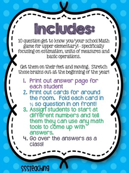 Glad to Meet You: Math Style (Upper Elementary)