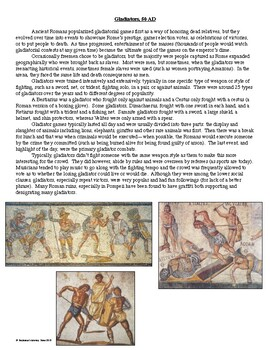 Gladiator Primary Source Analysis and Creative Activity
