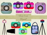 Glam Cam Clipart Set, High Resolution 300ppi, Separate PNG Files.