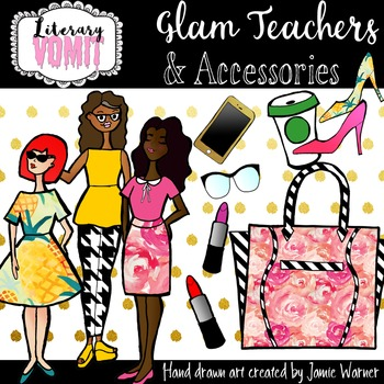Glam Teacher and Accessories Clipart