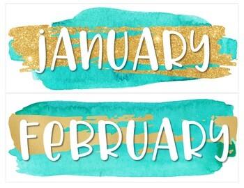 Glam & Teal Classroom Calendar Set