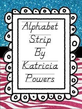 Glam Zebra Pink and Blue Alphabet Strip