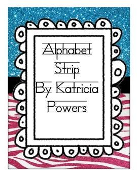 Glam Zebra Pink and Blue Alphabet Strip - Primer Print