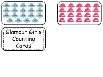 Glamour Girls Printable Counting Flash Cards. Preschool Math Flash Cards..