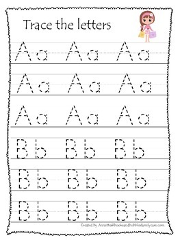 Glamour Girls themed A-Z tracing preschool educational wor