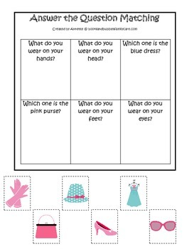 Glamour Girls themed Answer the Question printable game.  Preschool activity.